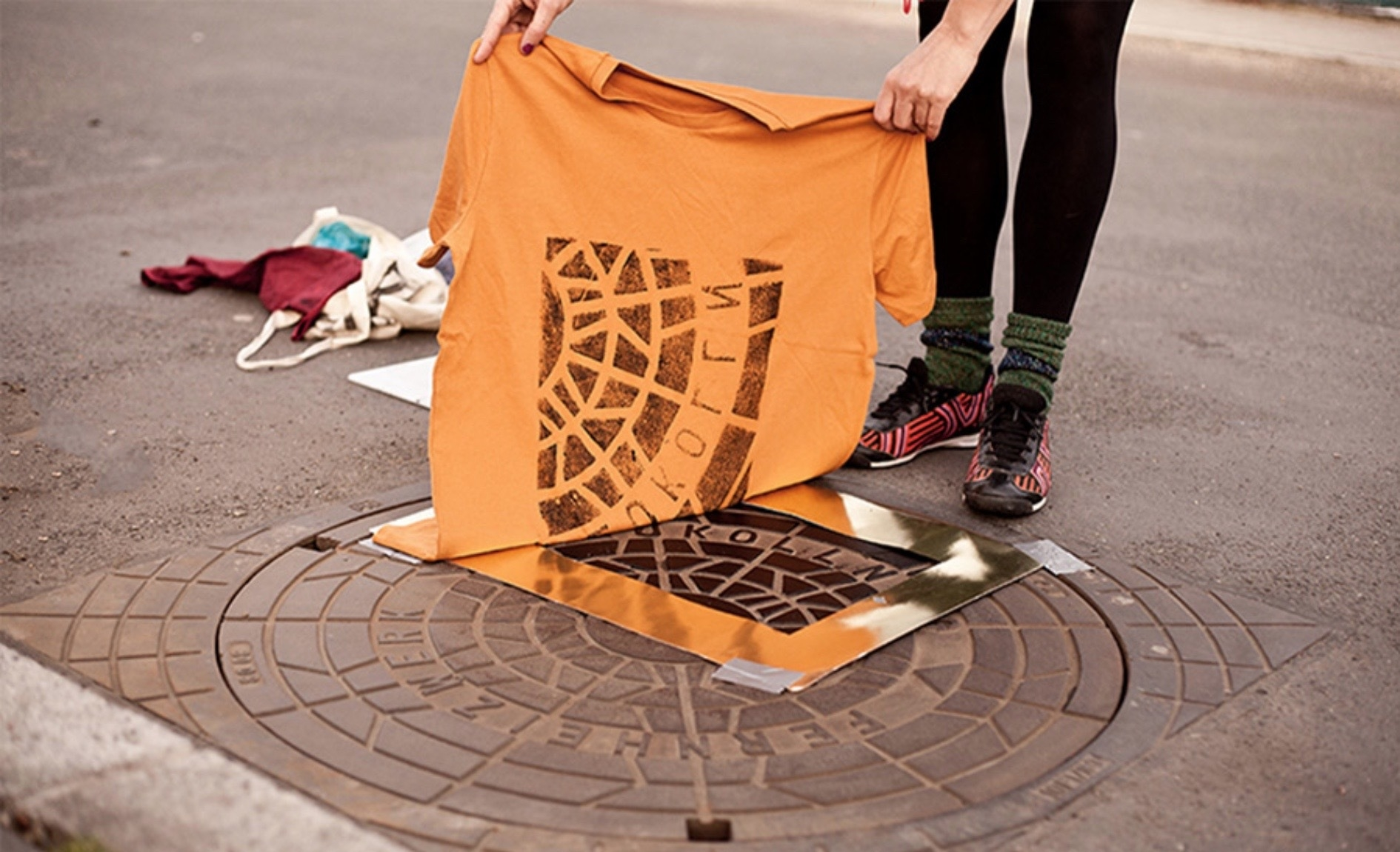 T-shirts printed on manholes